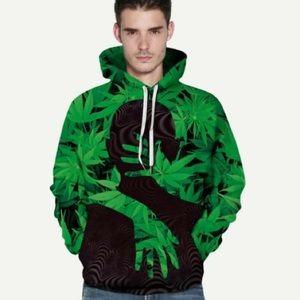 Men Allover Leaf Print Hooded sweatshirt